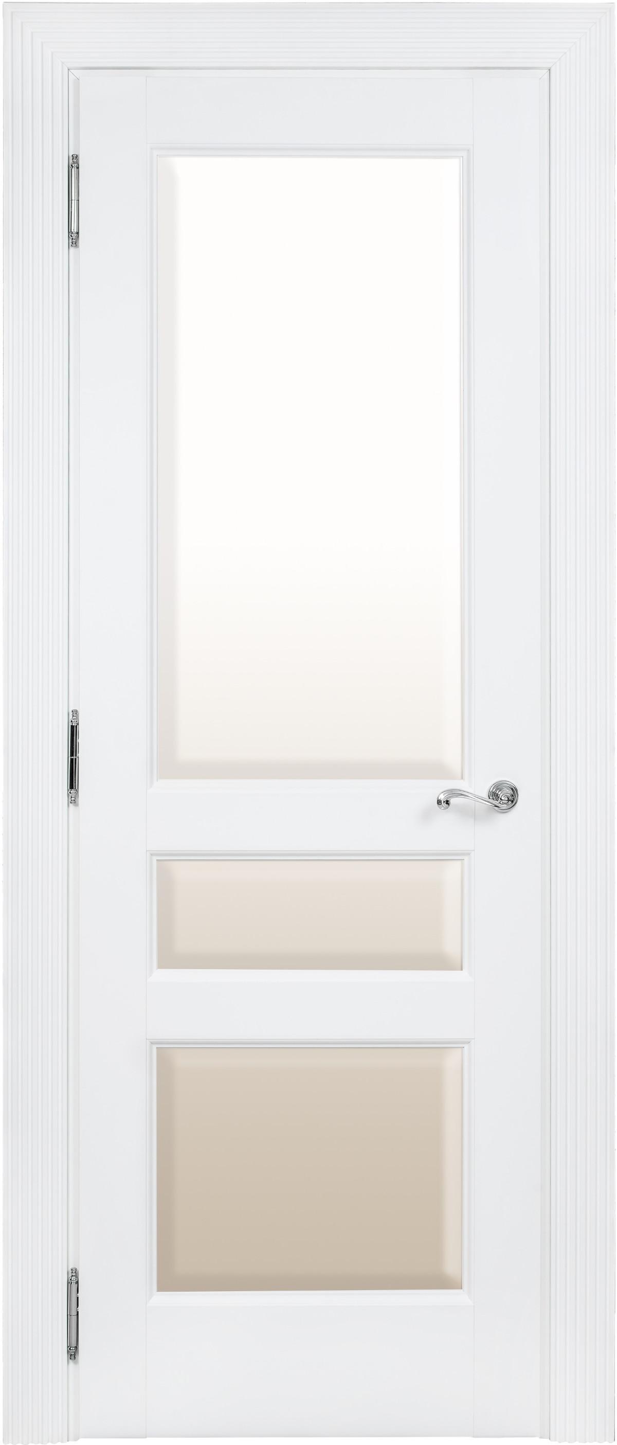 Белая дверь со стеклом межкомнатная Academia 3SnP-2