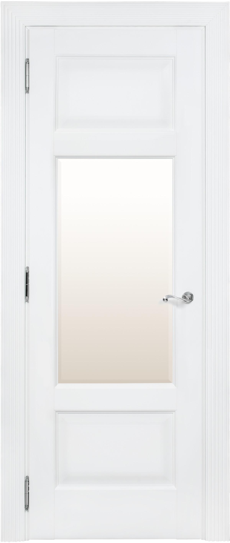 Белая межкомнатная дверь со стеклом Academia 2FSnP-3