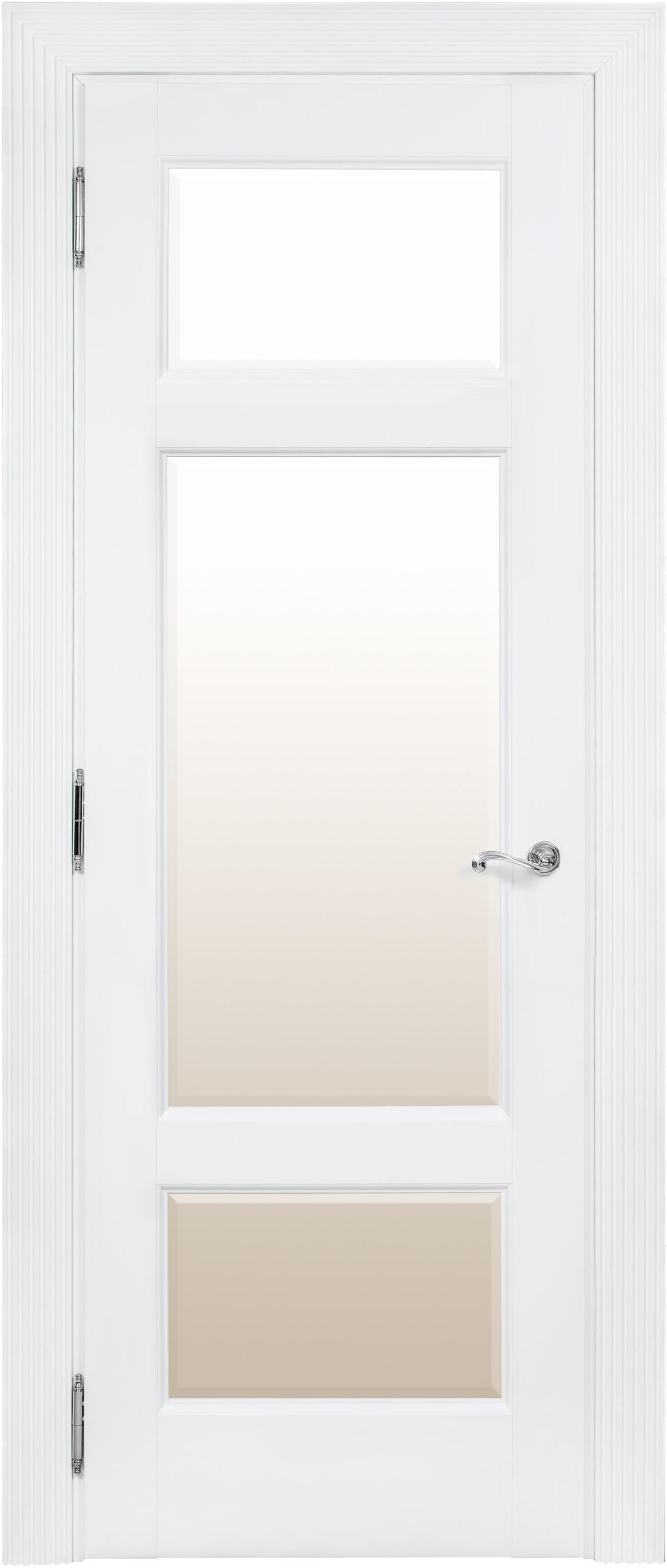 Белая межкомнатная дверь со стеклом Academia 3SnP-3