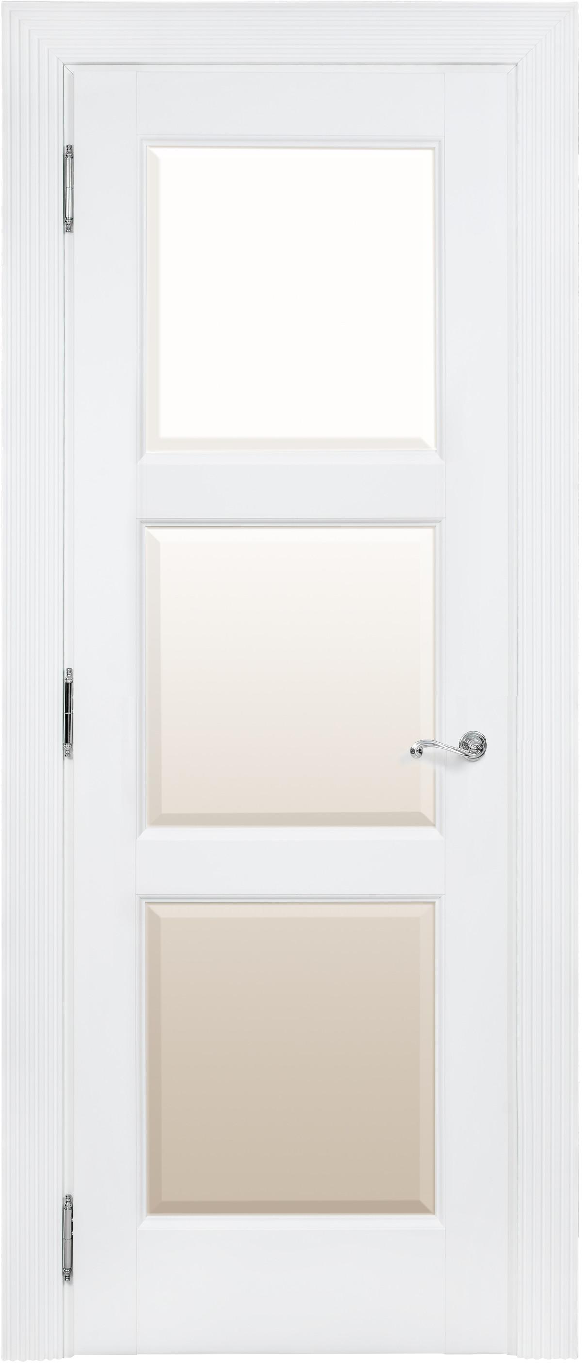 Дверь белая межкомнатная со стеклом Academia 3S