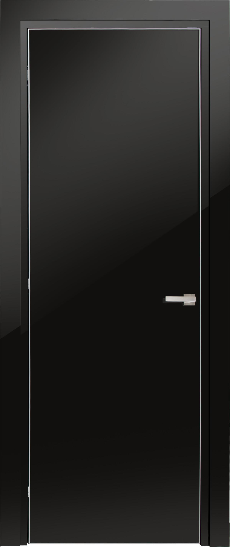 Межкомнатная / входная дверь, отделка: Черный Глянцевый лак (полиуретан), Glossy