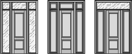 Межкомнатная / входная дверь, Одностворчатая распашная дверь с верхними и боковыми фрамугами