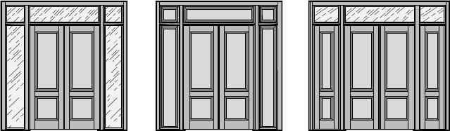 Межкомнатная / входная дверь, Двустворчатая распашная дверь с верхней и боковыми фрамугами